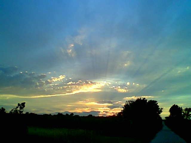 Sonnenuntergang über der Ried Haderwald am 18. August 2007 um etwa 20.00 Uhr