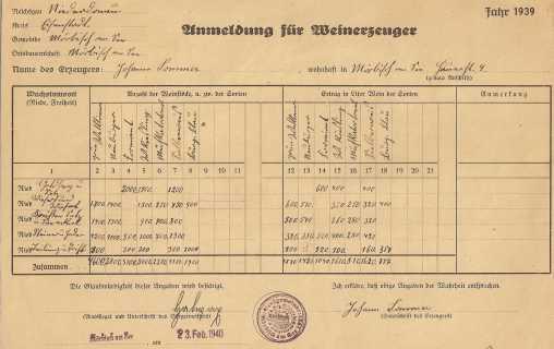 Erntemeldung 1939